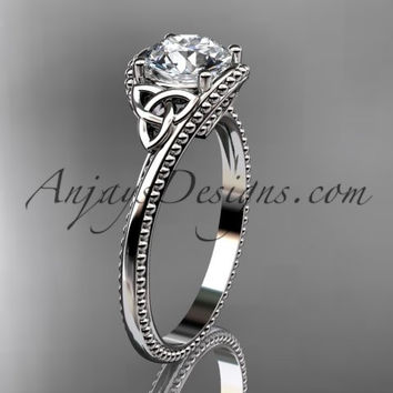 14kt white gold celtic trinity knot wedding ring, engagement ring CT7322
