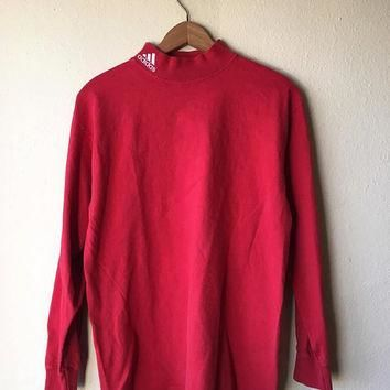 SMALL 90s Adidas Embroidered Turtleneck Longsleeve Athletic T-Shirt // Red 90s Adidas