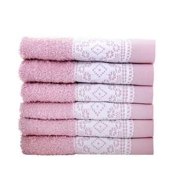 Minteks Kopenhagi Collection Turkish Decorative Wash Cloth Sets | Embroidered Towel with Lace Trim