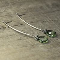 Green Amethyst Earrings, Extra Long Earrings, Sterling Silver Green Amethyst Jewelry, Statement Earrings, Anniversary Gift