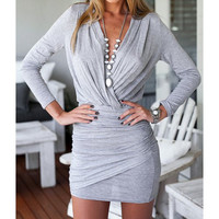 Alluring Plunging Neck Long Sleeve Solid Color Ruffled Women's Dress
