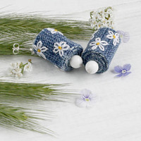 Embroidered jeans stud earrings embroidered jewelry White Daisies Ukrainian vyshyvanka bohemian dangling floral gift for mother boho denim
