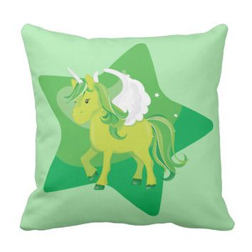 Cute Green Unicorn and Green Star Throw Pillow