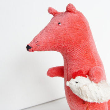 Fox with chicken stuffed toy, pink koral plush toy fox