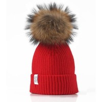 LUX FUR POM BEANIE RED WITH BROWN FUR