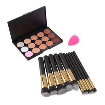 DCCKHY9 15 Colors Concealer Palette + 10pcs Make Up Brushes Kit +  Sponge Puff  Makeup Contour Palette High Quality