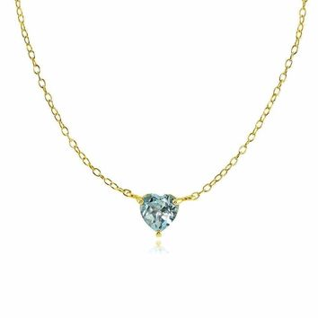 Dainty Blue Topaz Small Heart Choker Necklace in Gold Plated Sterling Silver