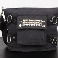 Black Studded Riveted Canvas Army Crossbody Bag - Free Shipping