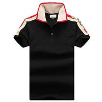 GUCCI 2019 new style brand men's polo shirt wild fashion T-shirt Black
