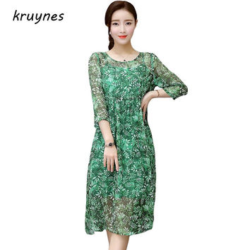 2017 Summer new European and American style dress print pure silk O-neck  mid calf length loose dress green and red casual dress