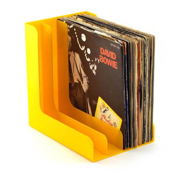 Singles vinyl storage. Discofoon. Orange yellow single record stand holder. 70s record vinyl storage solutions, Singles organiser. Hanging