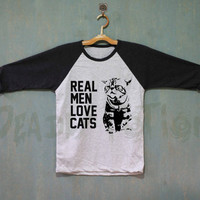 Real Men Love Cats Shirt Baseball Raglan Shirt Tee TShirt Unisex - Size S M L XL