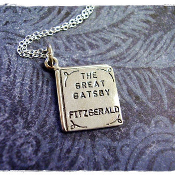 "Tiny Great Gatsby by F Scott Fitzgerald Literary Book Charm Necklace in Sterling Silver with a Delicate 18"" Sterling Silver Cable Chain"