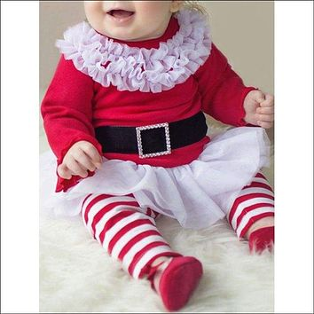 Baby Girls Santa Christmas Outfits - Red With White 70
