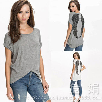 SIMPLE - Feather Wings Printed Summer Loose T-Shirt a11106