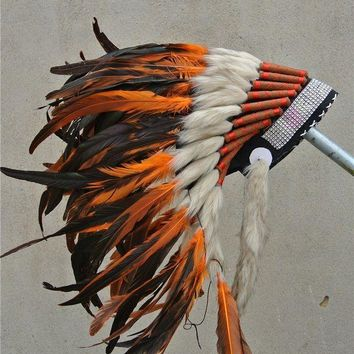 PEAPON Orange indian feather headdress Hand made indian war bonnet native american halloween costumes with silver headband