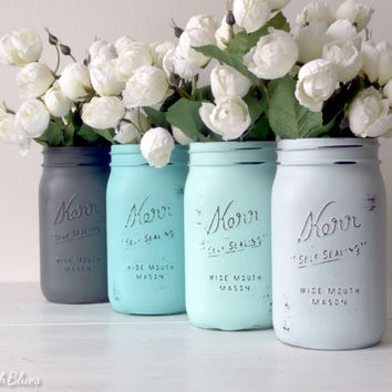 Dorm Decor - Blue Gray Home Decor Painted Mason Jars Pencil Holder