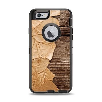 The Vintage Paper-Wrapped Wood Planks Apple iPhone 6 Otterbox Defender Case Skin Set