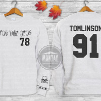 Louis Tomlinson Tattoos One Direction 1D Crewneck  Sweatshirt  Sweater and Hoodie Jumper ADD TOMLINSON 91 screenprint front and back