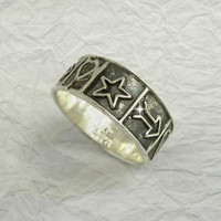 Vintage Mexican Sterling Silver Band, Love Heart Ring, Size 10