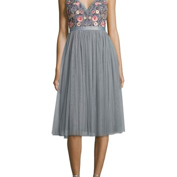 Gray Whisper Embellished Georgette Midi Dress