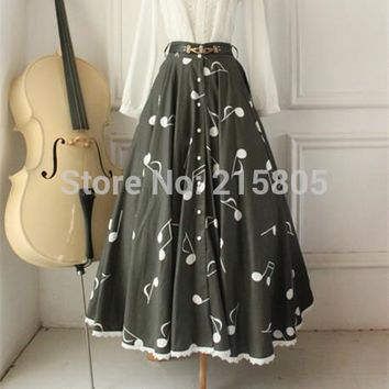 2016 Fashion Cutomized Fabric 100% Cotton musical note Print Pleated Skirts Long Elegant Black Button Large Hem Skirts