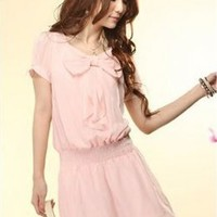 Sweet Bowknot Hot Sale Ladies Dresses Pink : Yoco-fashion.com