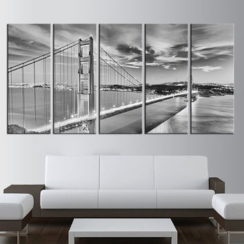 Golden Gate Bridge San Francisco California Canvas wall art, Large wall Art, large canvas print 5 panels, extra large wall art, skyline -t1b