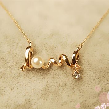 3D Cursive Love Necklace (in Gold & Silver)