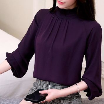 New womens tops and blouses Long Sleeve Chiffon Blouse Mujer Fashion Ladies Shirts Tops Women Clothes Shirt Blusas