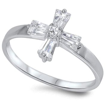 Sterling Silver Cross Cubic Zirconia Baguette Ring