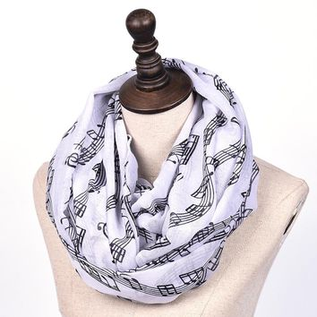 Fashion Music Piano Notes Chiffon Scarves Women's Scarf Shawl Long Stoles Muffler Infinity Foulard Femme Mujer