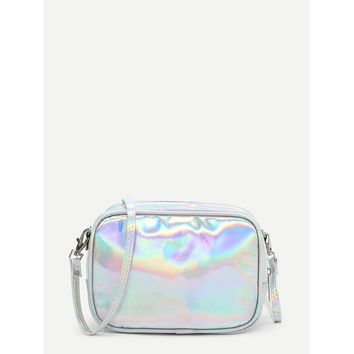 Iridescent PU Crossbody Bag