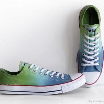 New pair! Ombr¨¦ dip dye Converse, blue & green All Stars, low tops, dyed sneakers, ath