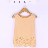2015 Summer Fashion Women Cropped Top Chiffon Tank Hollow Out Sleeveless Vest Plus Size Ladies Casual Blusa Feminina 6 Colors