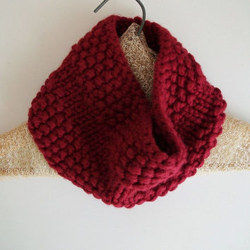 Red Knitted Neck Warmer Chunky Knit Cowl Circle Scarf Garnet Ruby Cranberry Modern