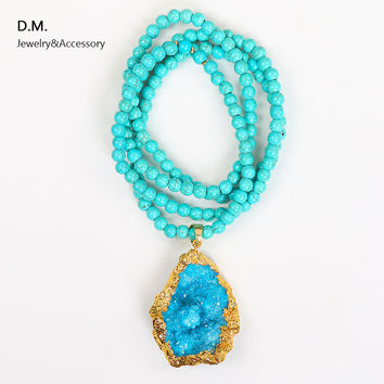 New Turquoise Beaded Long Maxi Necklace with Druzy Pendant Gold Filled Natural Stone Rosary Necklaces & Pendants Colar Comprido