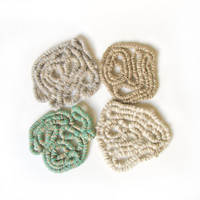 Shabby cottage,  Felt Coasters, Home Decor, Tabletop Decor, Coiled Felt Rope, Freeform, Housewarming, Earthy Natural Pastel Colors