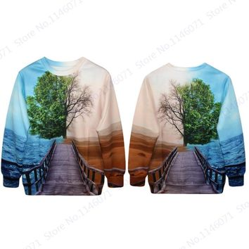 Live Tree And Dead Tree Sweatshirts Print Ocean And Desert Tracksuits Sport Pullover Coat Women Autumn Training Sweaters Jackets