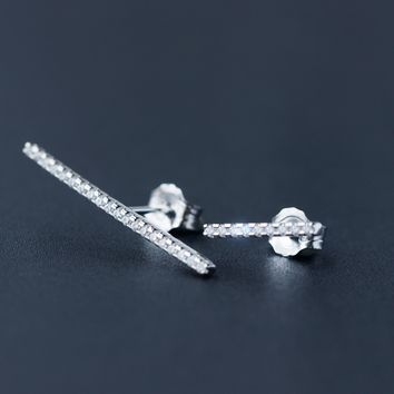 Personalized fashion asymmetry 925 sterling silver zircon earrings, a perfect gift
