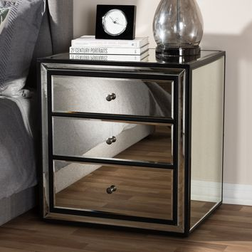Baxton Studio Avatar Art Deco Style 3-Drawer Mirrored Nightstand  Set of 1