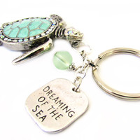 Sea Turtle Keychain, Turtle Keyring, Beach Keychain, Car Accessory, Beach Inspired Keyring, Dreaming of the Sea Keychain
