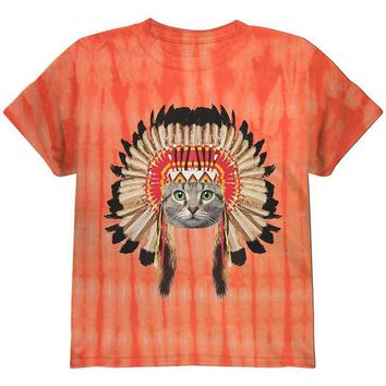 LMFCY8 Thanksgiving Funny Cat Native American Youth T Shirt