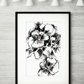 Abstract modern flower art, black-and-white monochrome painting , minimalist floral artwork, giclee print