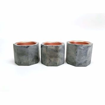 Concrete & Copper Candle Holders - Set of 3