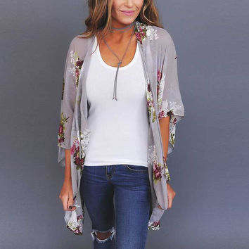 Floral Kimono Chiffon Cardigan Three Quarter Butterfly Sleeve Ruffled Summer Women Asymmetric Shirts Blouses