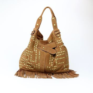 Sam Edelman Large Suede Studded Emily Bucket Tote