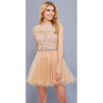 Cut Out Back Applique Bodice Sleeveless Homecoming Dress Rose Gold