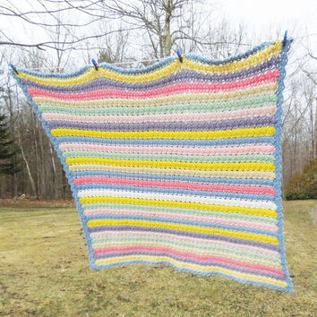 "Square vintage crochet blanket afghan throw in colorful stripes striped pattern 58"" x 58"""