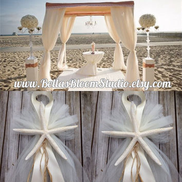 Beach Wedding Decorations Starfish Pew Bows Beach Wedding Decor Starfish Chair Decor Chuppah Decor Starfish Centerpiece beach wedding etsy